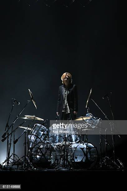 Musician and designer Yoshiki attends the YOSHIKIMONO show as part of Amazon Fashion Week TOKYO 2017 S/S at Shibuya Hikarie on October 17 2016 in...