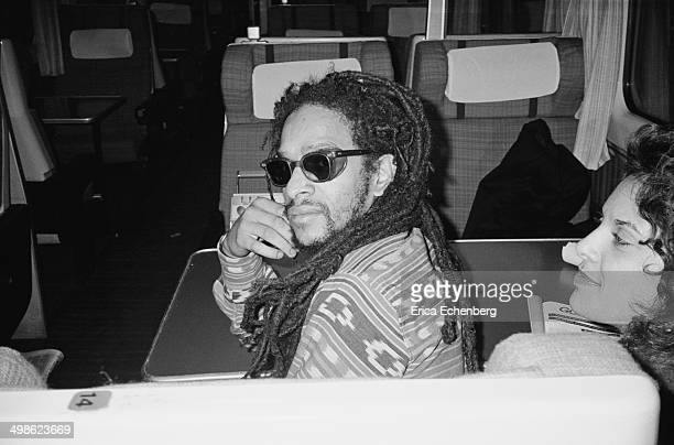 Musician and DJ Don Letts with his wife Audrey, travelling first calss on a train back to London after filming Channel 4 music TV show The Tube at...