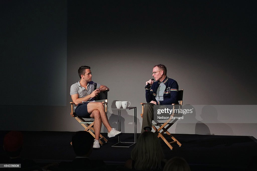 Musician and filmmaker Stuart Murdoch (R) speaks with Nigel Smith from Indiewire on stage during the Apple series 'Meet the Filmmaker: Stuart Murdoch' and chats about his new film 'God Help the Girl' at Apple Store Soho on August 26, 2014 in New York City.