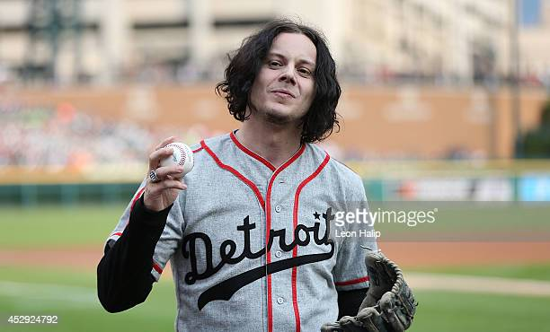 Musician and former Detroit native Jack White throws out the first pitch prior to the start of the game between the Chicago White Sox and the Detroit...