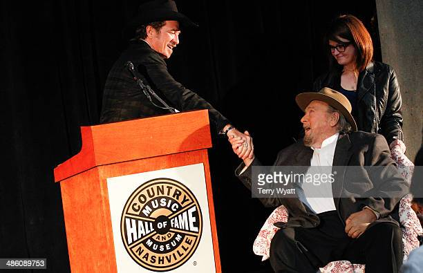 Musician and Hall of Fame Inductee Mac Wiseman and Kix Brooks attend the 2014 Country Music Hall Of Fame Inductees Announcement at the Country Music...
