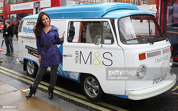 Musician and model Myleene Klass arrives in a customised VW Camper Van as she attends a photocall to launch Marks and Spencer's new Indigo Collection...