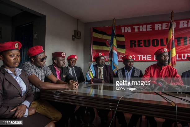 Musician and opposition candidate Robert Kyagulanyi aka Bobi Wine speaks during the press conference encouraging his people power supporters to...