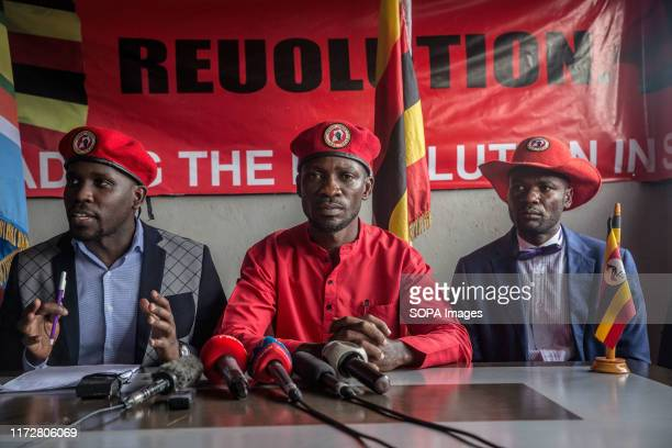 Musician and opposition candidate Robert Kyagulanyi aka Bobi Wine during the press conference encouraging his people power supporters to continue...