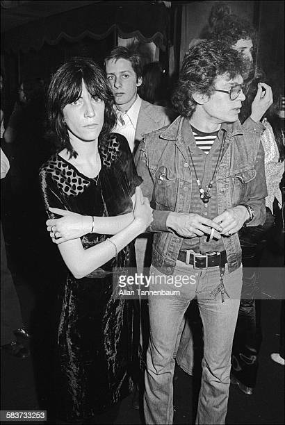 Musician and poet Patti Smith and artist and photographer Robert Mapplethorpe at the 82 Club New York New York May 10 1974
