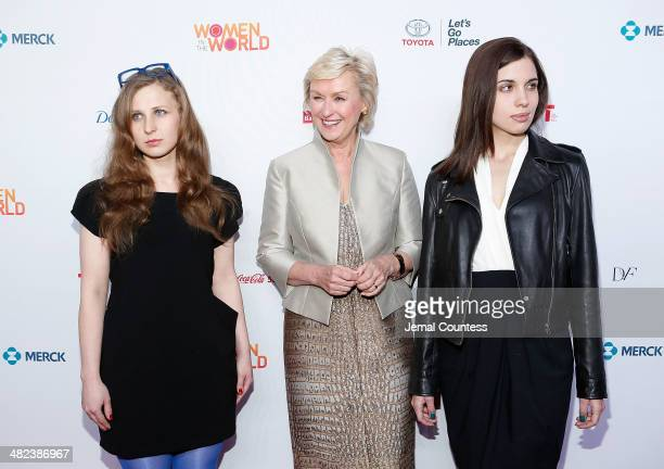 Musician and political activist Masha Alekhina journalist and author Tina Brown and musician and political activist Nadya Tolokonnikova attend the...