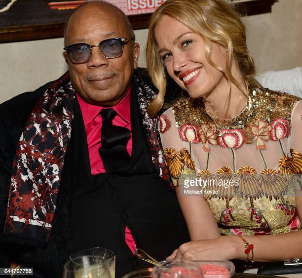 Musician and producer Quincy Jones and model Petra Nemcova attend BOVET 1822 Artists for Peace and Justice Present 'Songs From the Cinema' Benefit on...