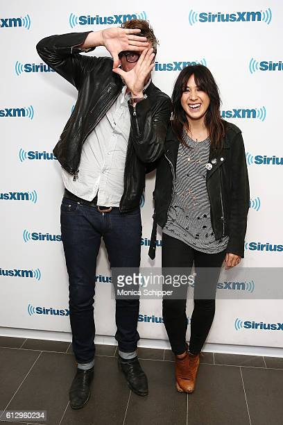 Musician and record producer Patrick Carney and singer-songwriter Michelle Branch visit SiriusXM Studio on October 6, 2016 in New York City.