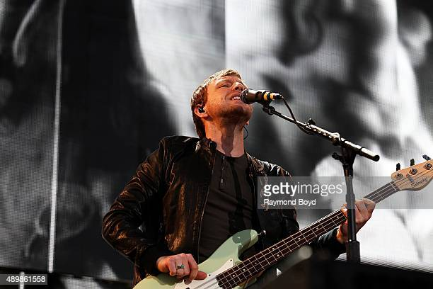 Musician and Singer Ben McKee from Imagine Dragons performs at FirstMerit Bank Pavilion at Northerly Island during 'Farm Aid 30' on September 19 2015...