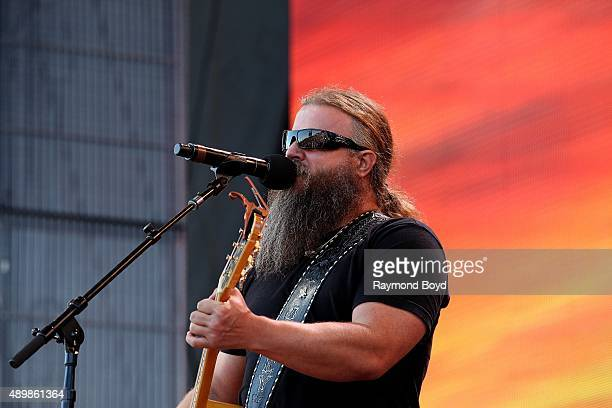 Musician and Singer Jamey Johnson performs at FirstMerit Bank Pavilion at Northerly Island during 'Farm Aid 30' on September 19 2015 in Chicago...