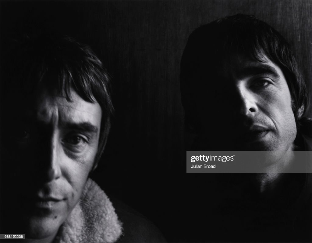 Musician and singers Paul Weller and Noel Gallagher are photographed for the Observer in London, England.