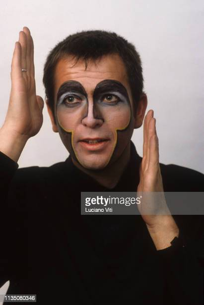 Musician and singersongwriter Peter Gabriel wearing a monkey makeup for the song 'Shock the Monkey' Rome Italy 1982