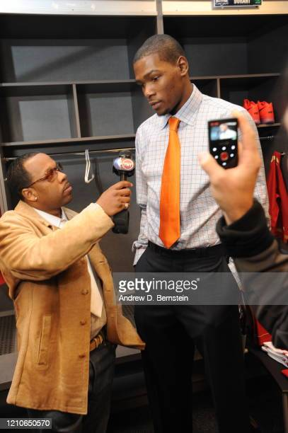 Musician and special TNT announcer Michael Bivins interviews Kevin Durant of the Western Conference prior to the NBA AllStar Game part of 2010 NBA...