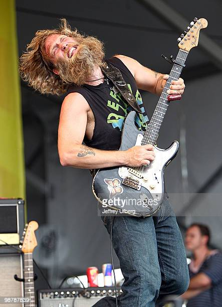 Musician Anders Osborne performs during day 6 of the 41st annual New Orleans Jazz Heritage Festival at the Fair Grounds Race Course on May 1 2010 in...