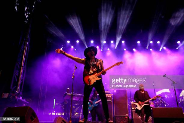 Musician Andre Cymone performs onstage at the Prince Tribute Concert during 2017 SXSW Conference and Festivals at Lady Bird Lake on March 17 2017 in...