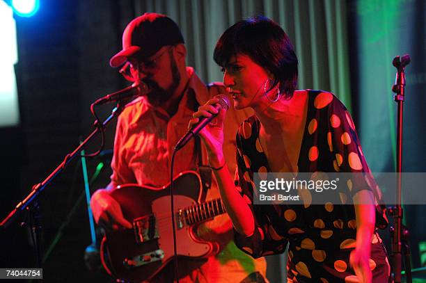 Musician Andres Levis and singer Lucy Diamentes Martinez of the band Yerba Buena perform onstage at the ASCAP Tribeca Music Lounge held at the Canal...