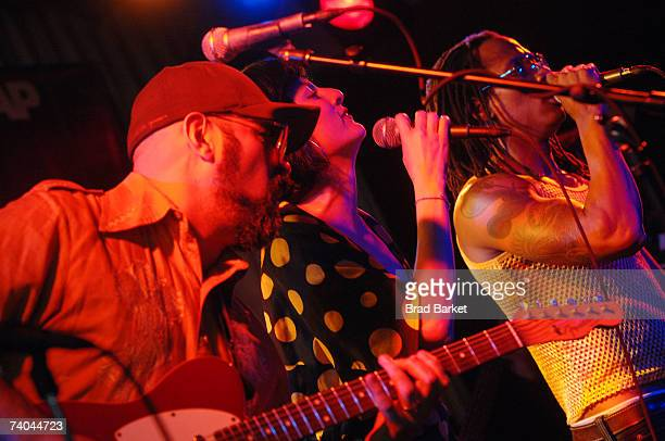 Musician Andres Levis, singers Lucy Diamentes and Pedro Martinez of the band Yerba Buena perform onstage at the ASCAP Tribeca Music Lounge held at...