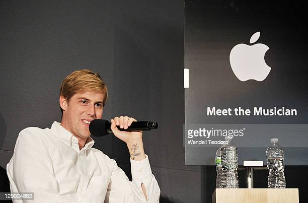 Musician Andrew McMahon from Jack's Mannequin visits the Apple Store Soho on October 10 2011 in New York City