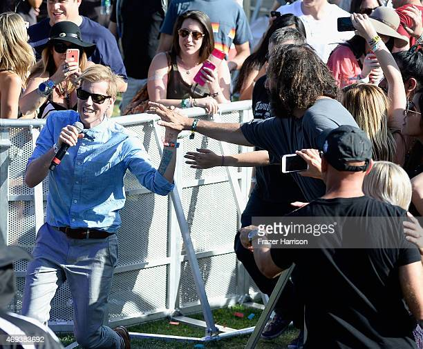 Musician Andrew McMahon of Andrew McMahon in the Wilderness performs in the audience during day 2 of the 2015 Coachella Valley Music Arts Festival at...