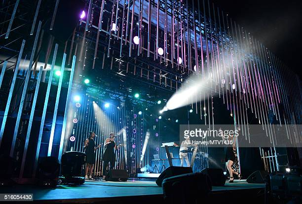 Musician Andrew Taggart of The Chainsmokers and singer Rozes perform onstage during the 2016 MTV Woodies/10 For 16 on March 16 2016 in Austin Texas