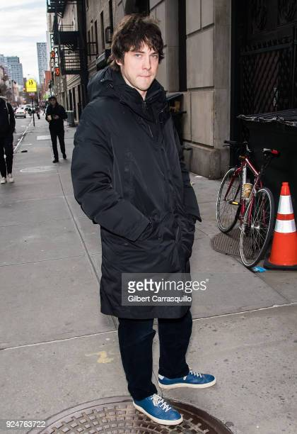Musician Andrew VanWyngarden of the band MGMT is seen arriving at 'The Late Show With Stephen Colbert' at the Ed Sullivan Theater on February 26 2018...