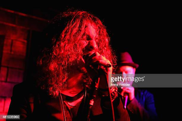 Musician Andrew Watt performs on stage at the John Varvatos fashion show after party at The Electric Room on July 16 2015 in New York City