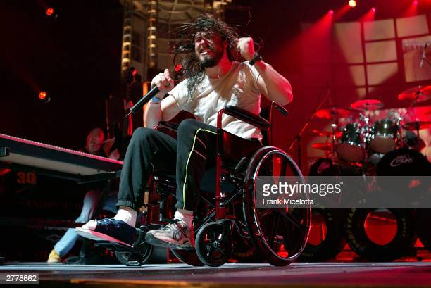 Musician Andrew WK performs on stage during the 1st Annual Video Game Awards at the MGM Grand Garden Arena December 2 2003 in Las Vegas Nevada The...