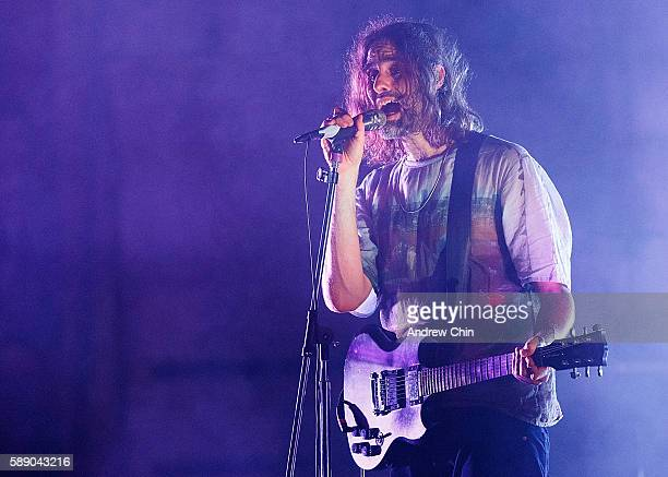 Musician Andrew Wyatt of Swedish indie pop band Miike Snow performs onstage at Orpheum Theatre on August 12 2016 in Vancouver Canada