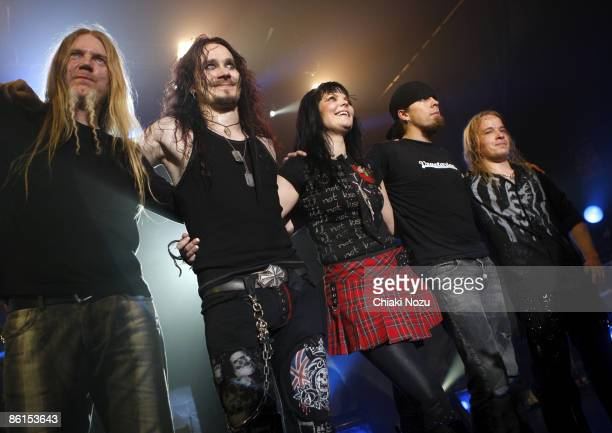 Musician Anette Olzon Tuomas Holopainen Marco Hietala Jukka Nevalainen and Emppu Vuorinen of Nightwish on stage during the Nightwish Concert March 26...
