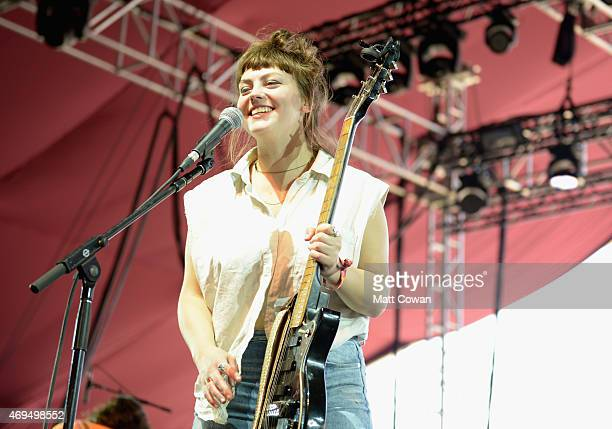 Musician Angel Olsen performs onstage during day 3 of the 2015 Coachella Valley Music Arts Festival at the Empire Polo Club on April 12 2015 in Indio...