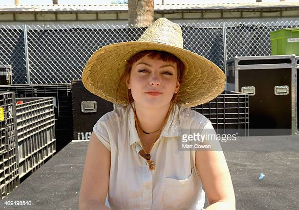 Musician Angel Olsen poses backstage during day 3 of the 2015 Coachella Valley Music & Arts Festival at the Empire Polo Club on April 12, 2015 in...