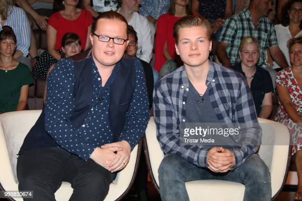 Musician Angelo Kelly and his son Gabriel Kelly during the 'Markus Lanz' TV Show on July 4 2018 in Hamburg Germany