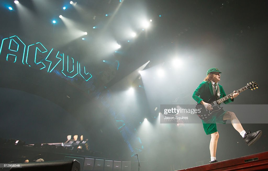 Musician Angus Young of AC/DC performs at Sprint Center on February 28, 2016 in Kansas City, Missouri.