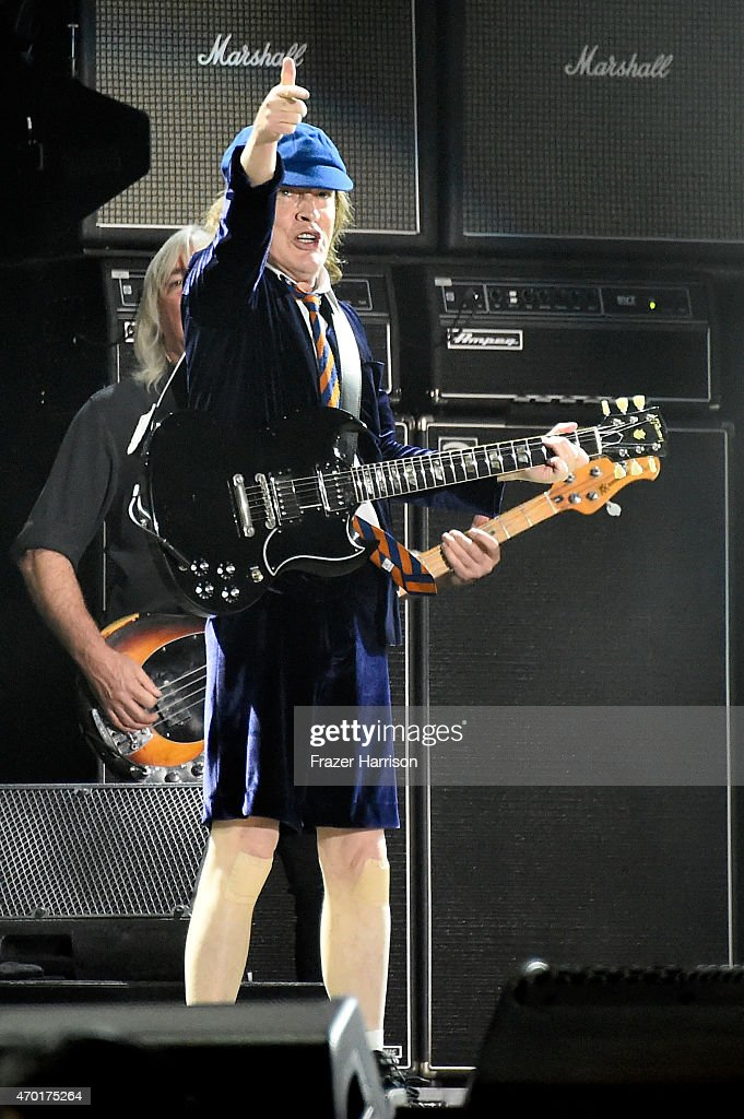 Musician Angus Young of AC/DC performs onstage during day 1 of the 2015 Coachella Valley Music And Arts Festival (Weekend 2) at The Empire Polo Club on April 17, 2015 in Indio, California.