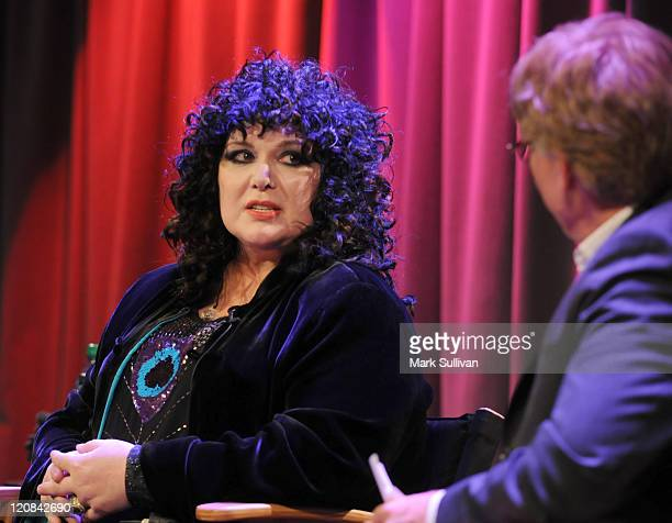 Musician Ann Wilson of Heart being interviewed during An Evening With Heart at The GRAMMY Museum on May 24 2010 in Los Angeles California