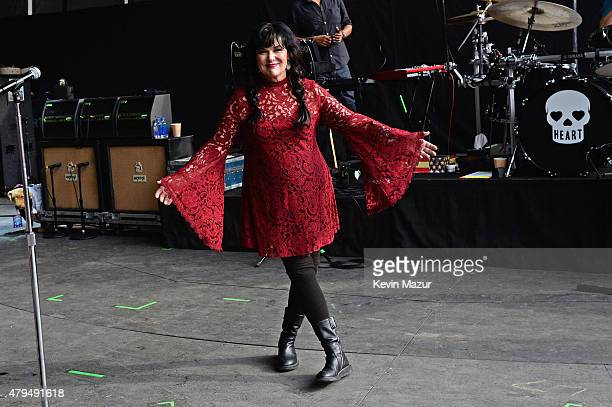 Musician Ann Wilson of Heart poses backstage during the Foo Fighters 20th Anniversary Blowout at RFK Stadium on July 4 2015 in Washington DC