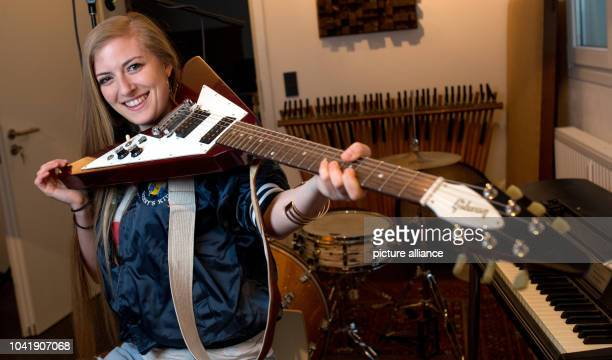 Musician Anna Guder posing in her studio in Hamburg Germany 28 April 2016 The musician from Hamburg played the Prince song 'Kiss' on a public train...