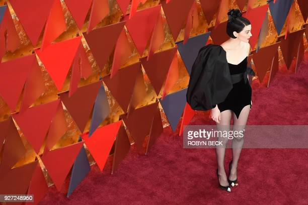 US musician Anne Erin Clark aka St Vincent arrives for the 90th Annual Academy Awards on March 4 in Hollywood California / AFP PHOTO / Robyn Beck