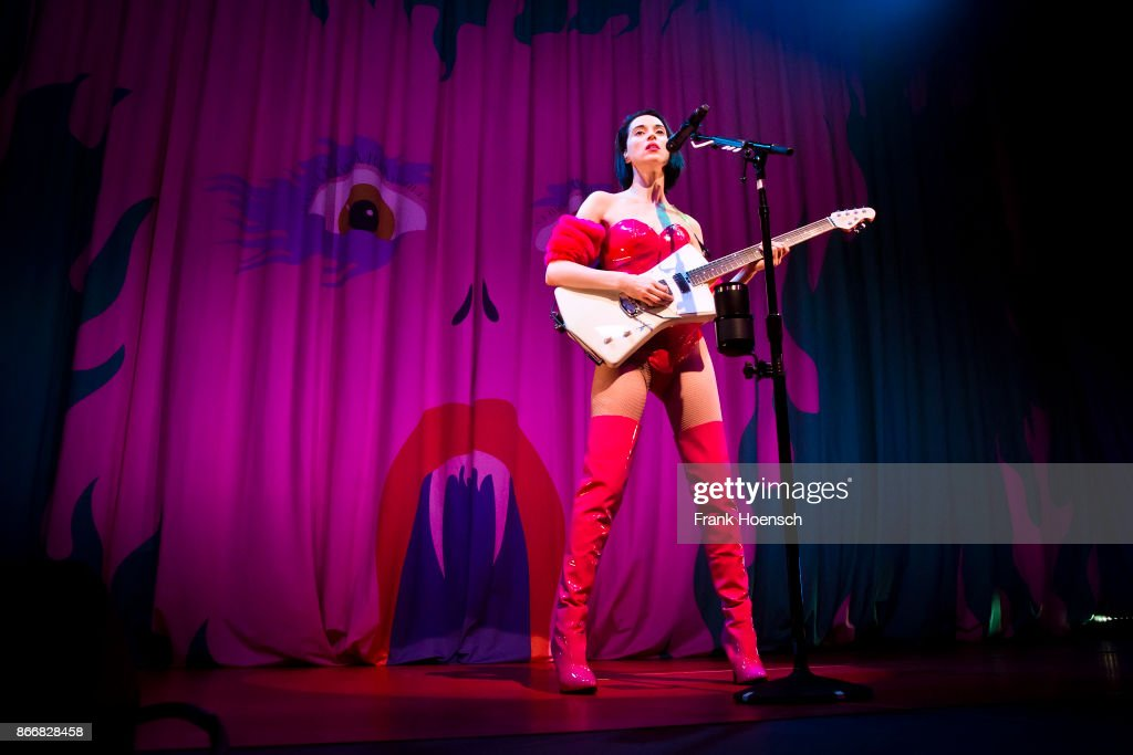 Musician Annie Clark aka St. Vincent performs live on stage during a concert at the Huxleys on October 26, 2017 in Berlin, Germany.