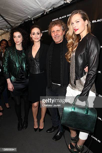 Musician Annie Clark of St Vincent actress Emmy Rossum designer Renzo Rosso and model Petra Nemcova attend the Diesel Black Gold Fall 2012 fashion...