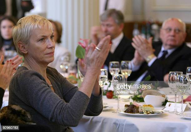 Musician Annie Lennox and former Soviet President Mikhail Gorbachev attend the 10th World Summit of Nobel Peace Laureates at Berlin town hall on...