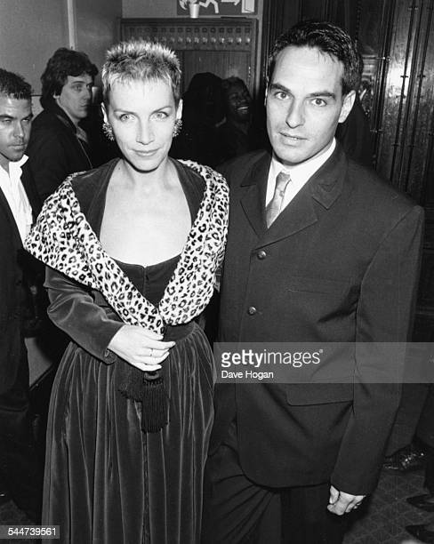 Musician Annie Lennox and her husband Uri Fruchtmann attending the BRIT Awards London February 15th 1989