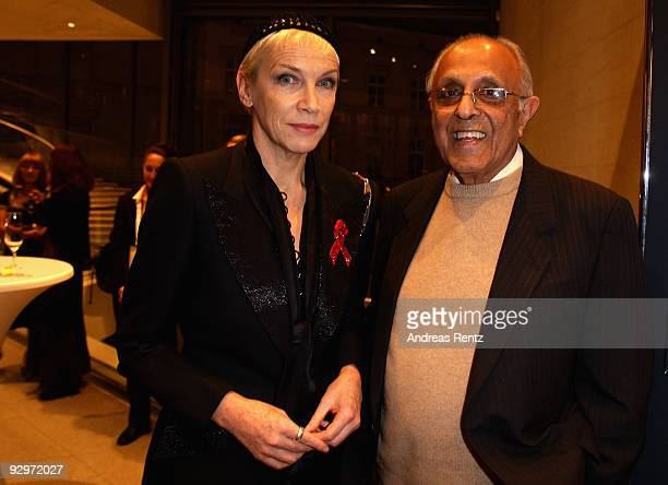 Musician Annie Lennox and South African politician Ahmed Mohamed Kathrada attend the gala dinner BELSTAFF FOR PEACE to the 10th World Summit of Nobel...