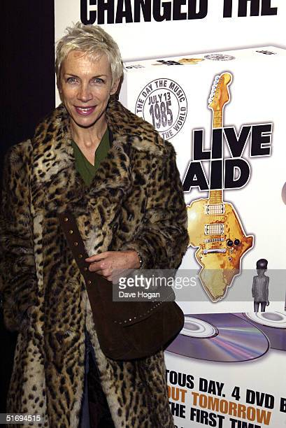 Musician Annie Lennox arrives at the premiere screening of the new fourdisc DVD featuring 10 hours of footage from the historic charity concert Live...