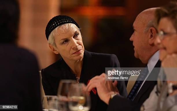 Musician Annie Lennox chats with former President of South Africa Frederik Willem de Klerk during the gala dinner BELSTAFF FOR PEACE to the 10th...