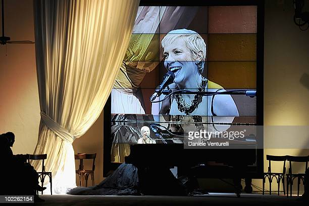 Musician Annie Lennox performs during the Dolce Gabbana Milan Menswear Spring/Summer 2011 show on June 19 2010 in Milan Italy