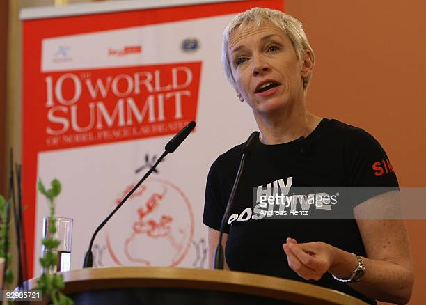 Musician Annie Lennox speaks after she received the Peace award on the second day of the 10th World Summit of Nobel Peace Laureates at Berlin town...