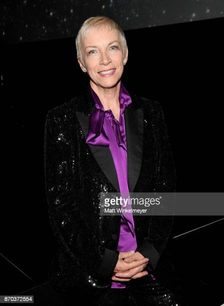 Musician Annie Lennox wearing Gucci attends the 2017 LACMA Art Film Gala Honoring Mark Bradford and George Lucas presented by Gucci at LACMA on...