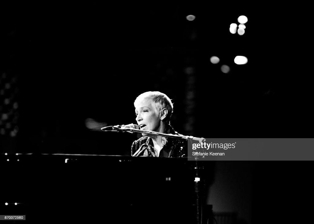 Musician Annie Lennox, wearing Gucci, performs onstage during the 2017 LACMA Art + Film Gala Honoring Mark Bradford and George Lucas presented by Gucci at LACMA on November 4, 2017 in Los Angeles, California.