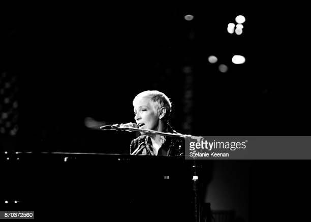 Musician Annie Lennox wearing Gucci performs onstage during the 2017 LACMA Art Film Gala Honoring Mark Bradford and George Lucas presented by Gucci...